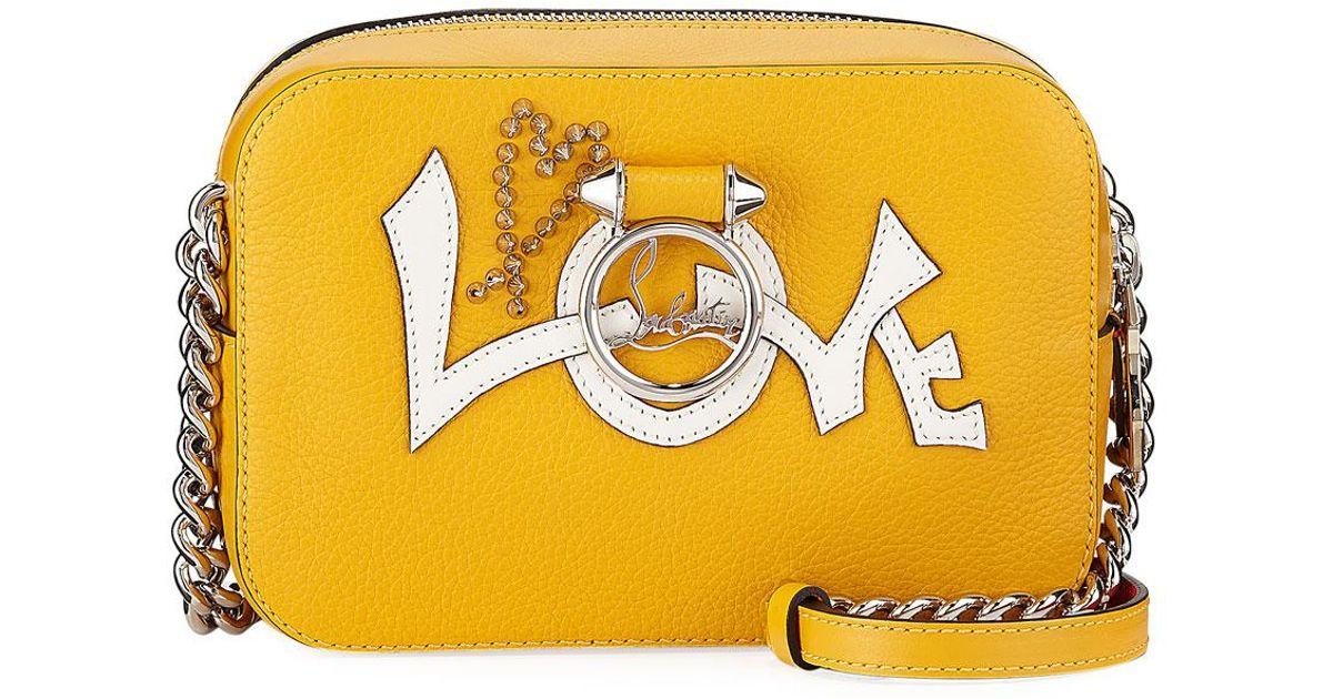 21701cd3efa Christian Louboutin Yellow Ruby Lou Mini Love Calf Crossbody Bag
