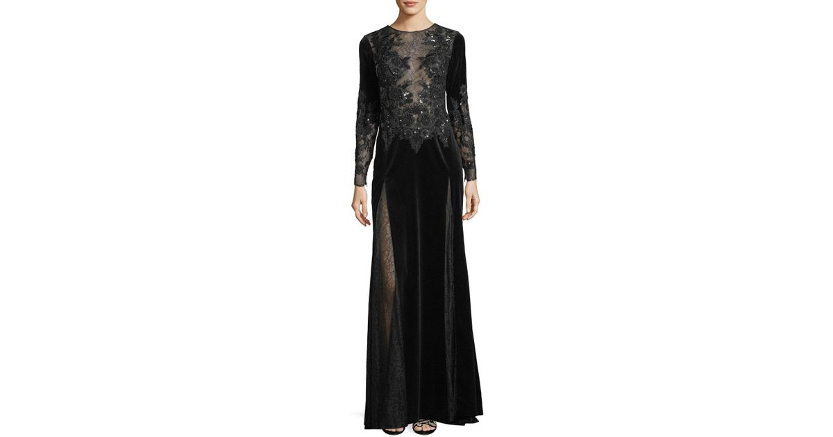 Lyst Zuhair Murad Long Sleeve Embroidered Velvet Evening Gown With