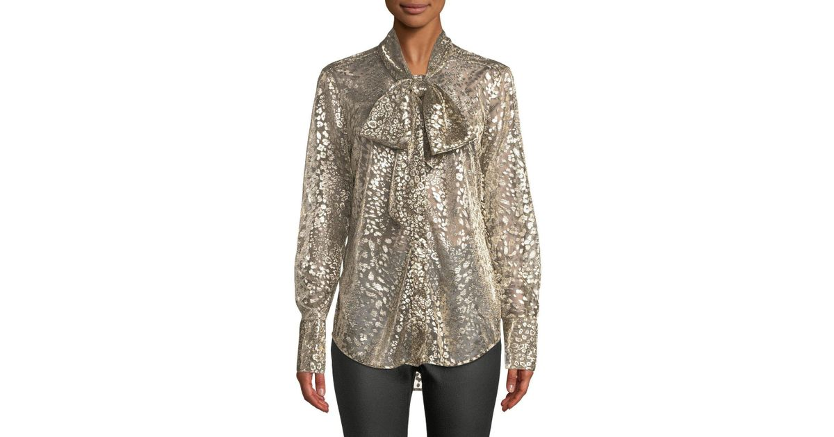 4ac1443fed5ca Lyst - Equipment Luis Tie-neck Long-sleeve Metallic Leopard Burnout Blouse  in Metallic