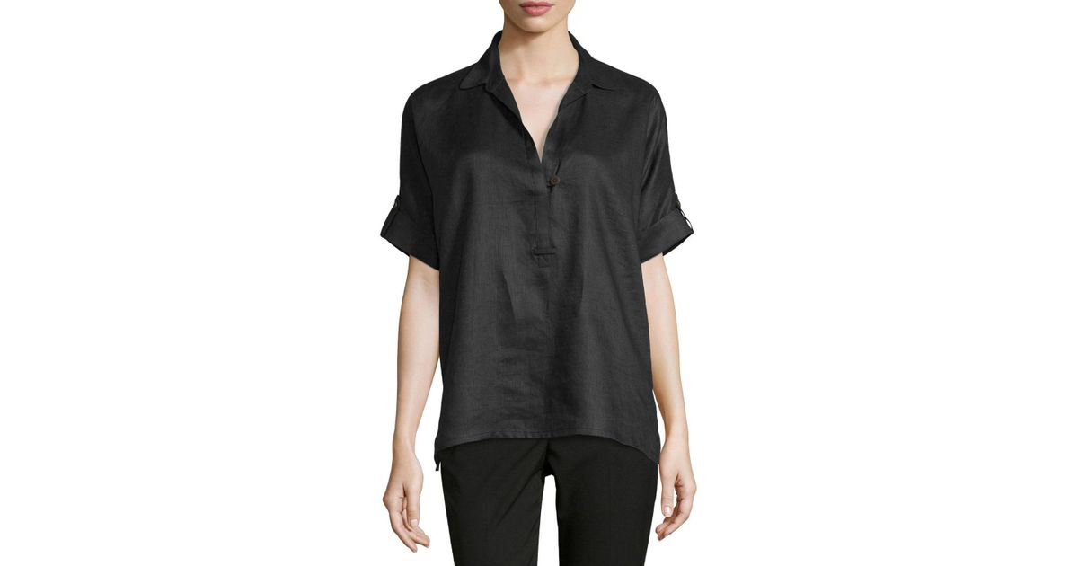 f9aee47682da32 Lyst - Go  By Go Silk Oversized Short-sleeve Linen Tunic in Black - Save 68%