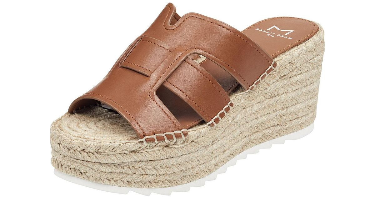 fa6be83af9 Lyst - Marc Fisher Robbyn Wedge Slide Sandals in Natural