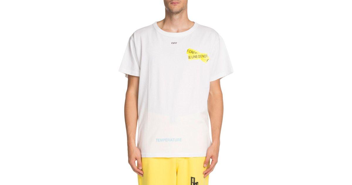 e5a9a5dffd6f Off-White c/o Virgil Abloh Caution Tape Short-sleeve T-shirt in White for  Men - Lyst