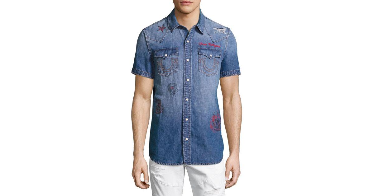 206ff582d5 Lyst - True Religion Printed Short-sleeve Denim Western Shirt in Blue for  Men