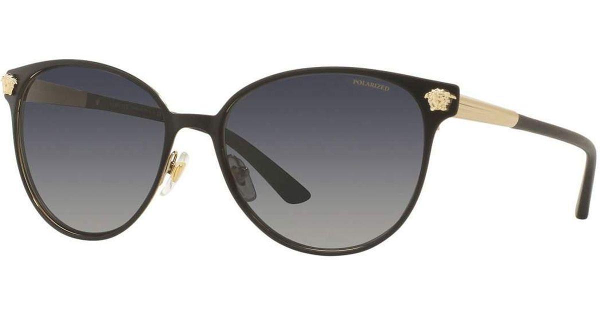 59455bf3299 Lyst - Versace Polarized Medusa Head Round Sunglasses in Gray