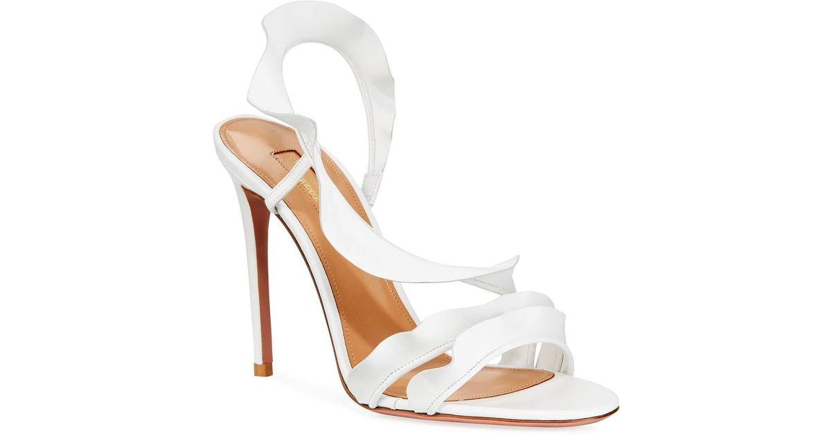 Leather Ruffle Napa Strappy Sandals