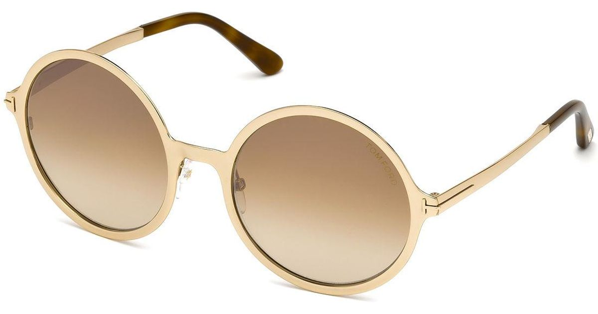 cce85ea0ecb Lyst - Tom Ford Round Gradient Metal Sunglasses in Brown