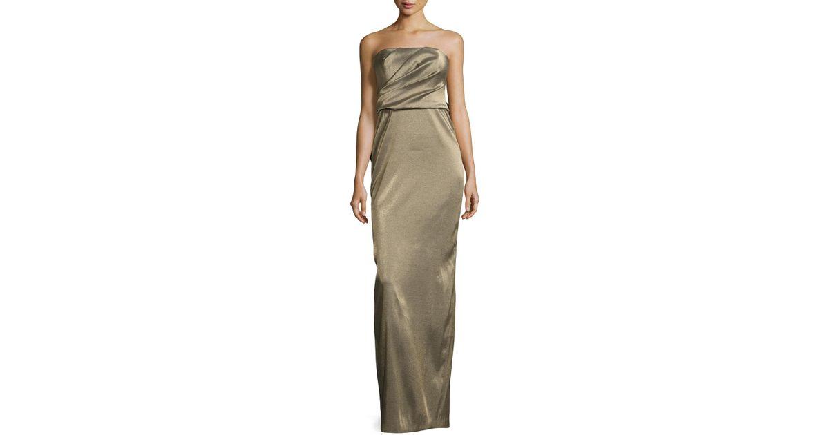 2d77974b35c58b Halston Strapless Metallic Evening Gown W/ Back Structured Flounce in  Metallic - Lyst