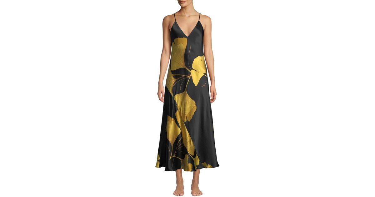 5c838dc6ab Lyst - Natori Women s Josie Gingko Floral Silk Nightgown - Black Gold -  Size Medium in Black