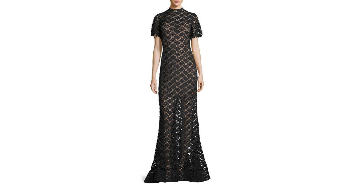 Lyst - Jovani Short-sleeve Crochet Overlay Evening Gown in Black