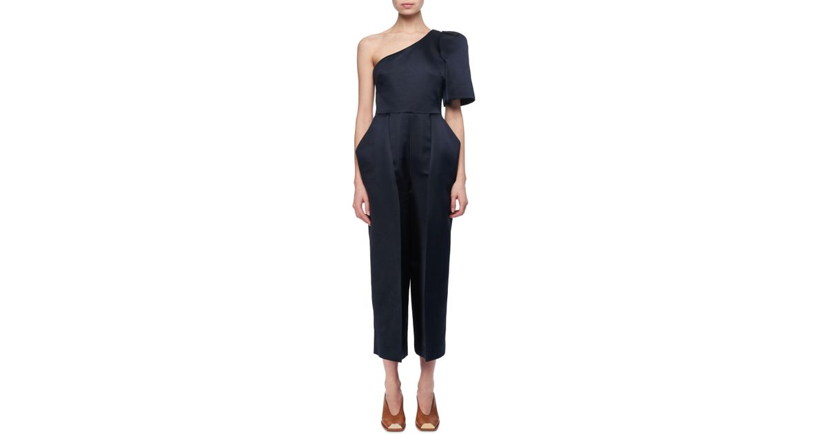 572e699298e3 Lyst - Stella McCartney Satin One-shoulder Cropped Jumpsuit in Blue