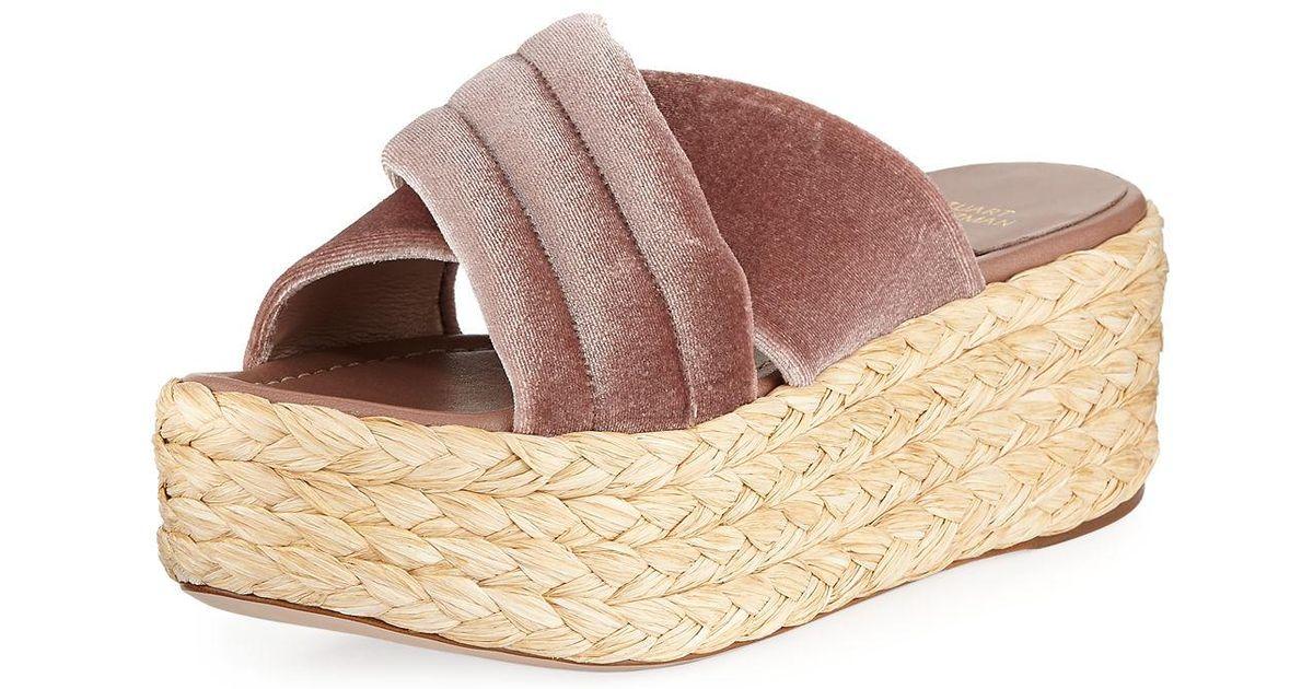 bfb0b272f57 Lyst - Stuart Weitzman Pufftopraffia Velvet Wedge Platform Sandals in Brown