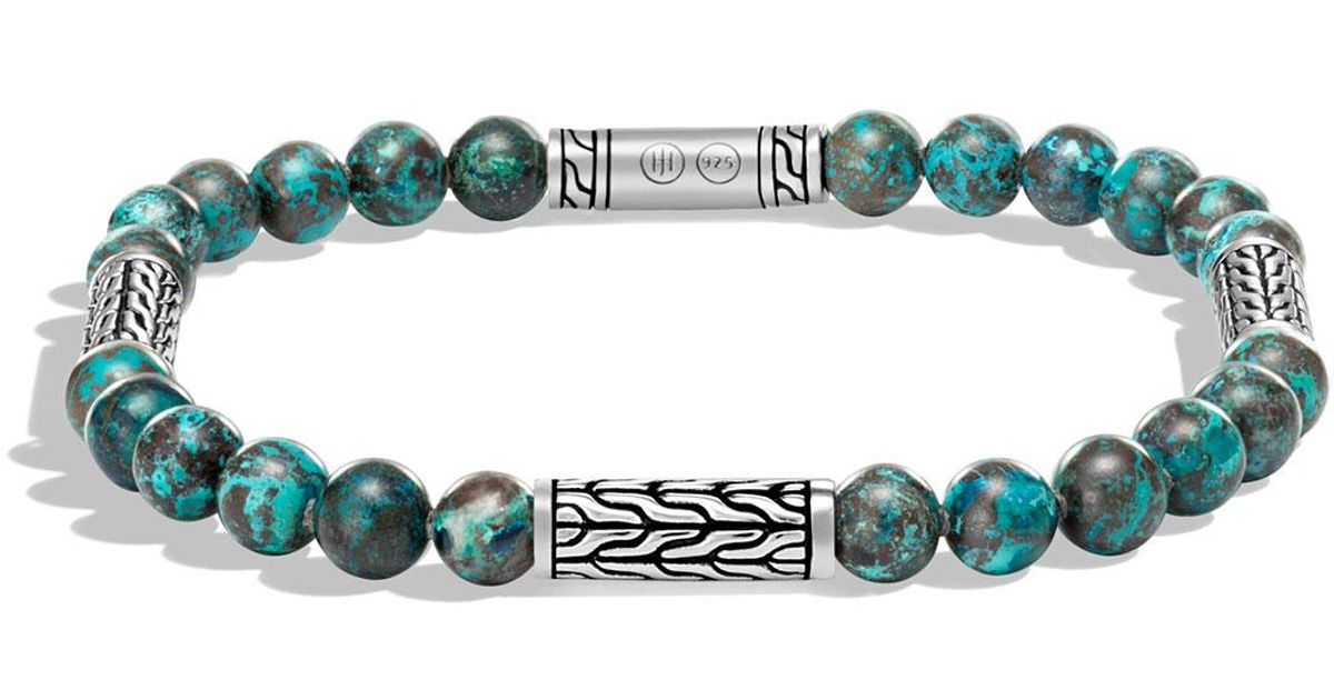 John Hardy Mens Classic Chain Sterling Silver & Turquoise ID Bracelet, Turquoise