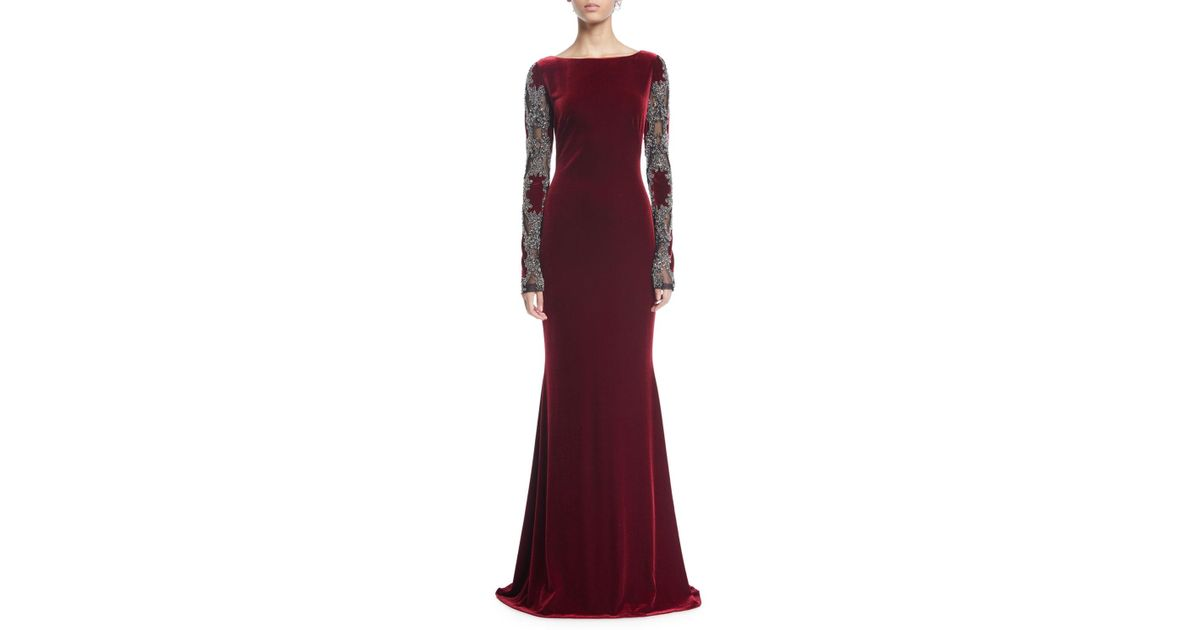 14927148d34a1 Badgley Mischka Sheer Long-sleeve Velvet Column Gown in Red - Lyst