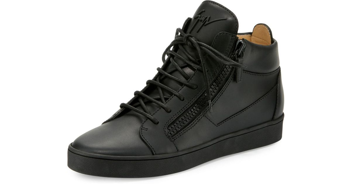 Tonal Leather Mid-top Sneakers