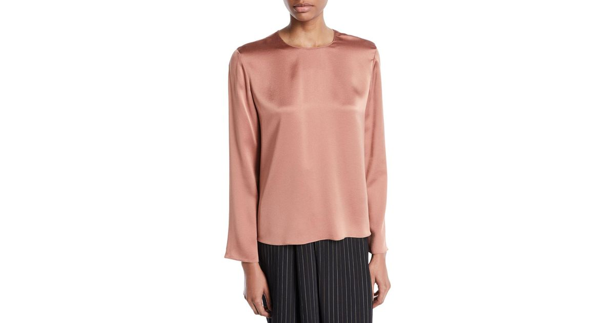 0b11eb2e9131 Lyst - Vince Tie-back Silk Long-sleeve Blouse in Pink - Save 60%