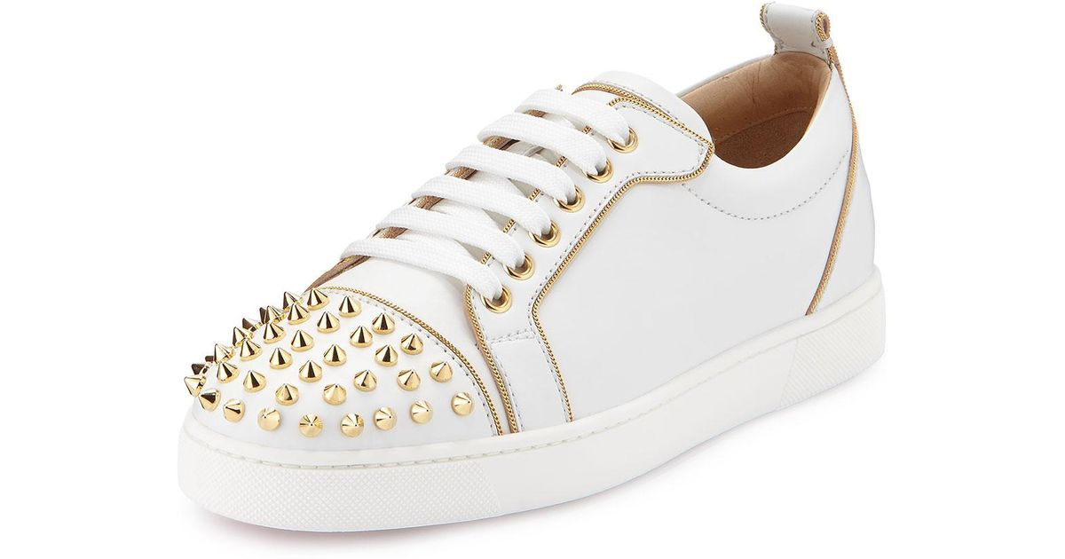 big sale 8200a 8a7ed Christian Louboutin White Rush Spiked Leather Low-top Sneaker