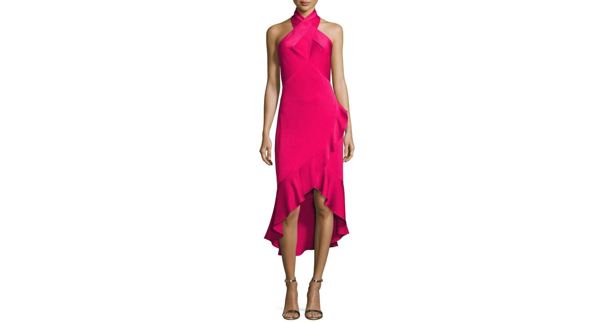 Shoshanna Synthetic Evelina Crepe Halter Cocktail Dress In