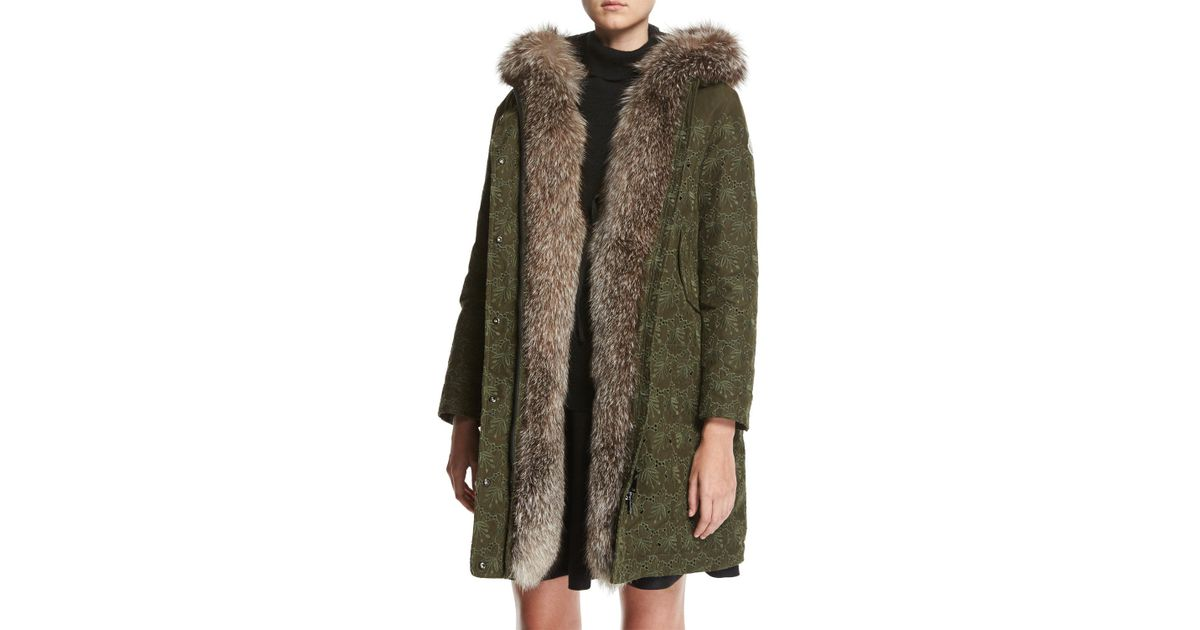 abae41d6b Moncler Green Veronika Embroidered Hooded Coat W/ Fur Trim