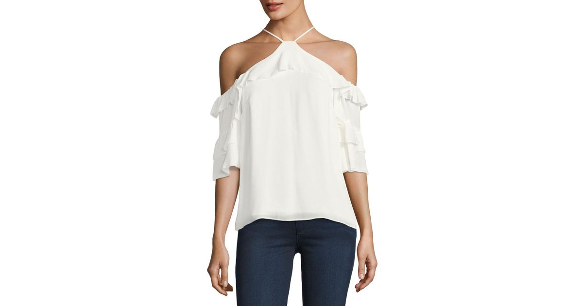 48393b8189c24 Lyst - Parker Natalia Ruffled Cold-shoulder Silk Blouse in White