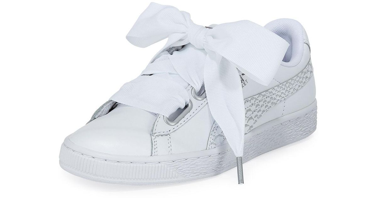 newest 11ef4 70e10 PUMA White Basket Heart Oceanaire Ribbon-laced Sneakers