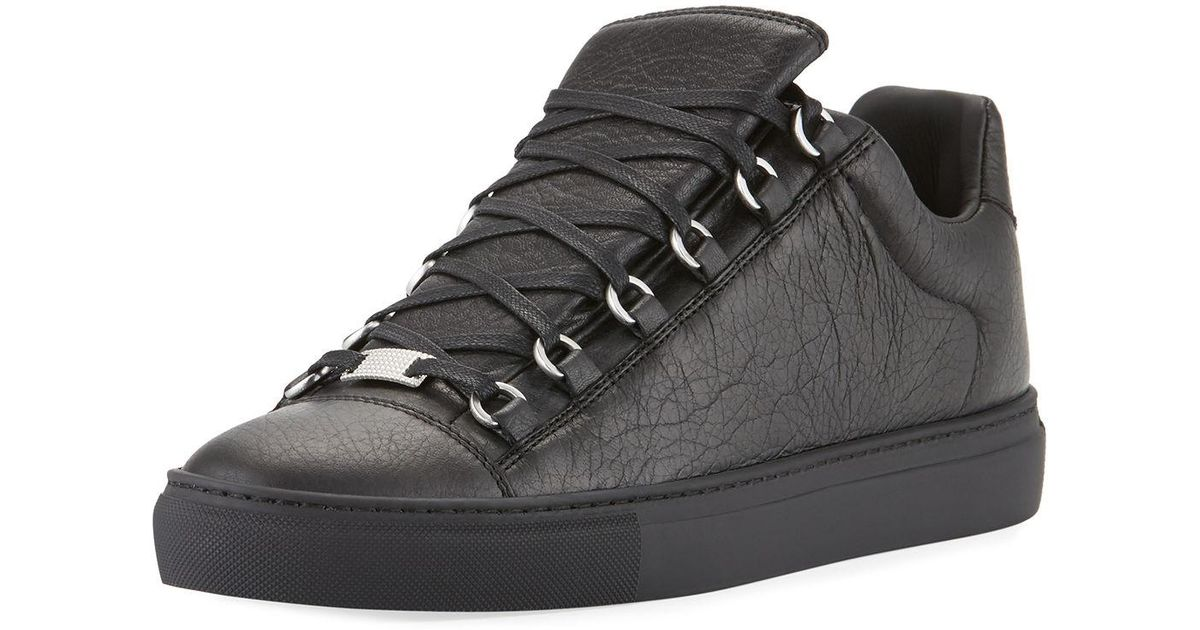 Balenciaga Men Men's Leather Black Low Arena For Top Sneakers WHDIE29