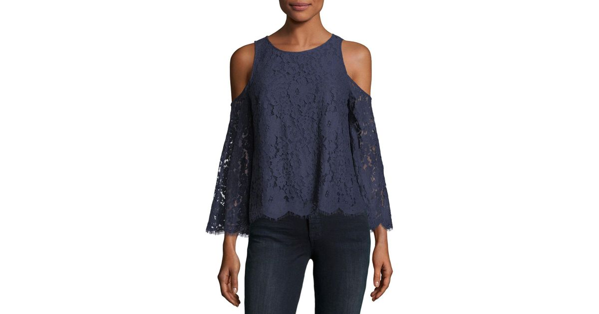 1bce8fb706 Lyst - Joie Abay Lace Cold-shoulder Top in Blue