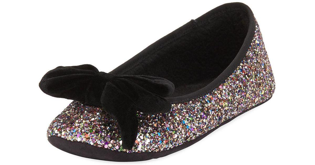 d194760483b6 Lyst - Kate Spade Sussex Velvet Bow Glittery Ballet Slippers in Black