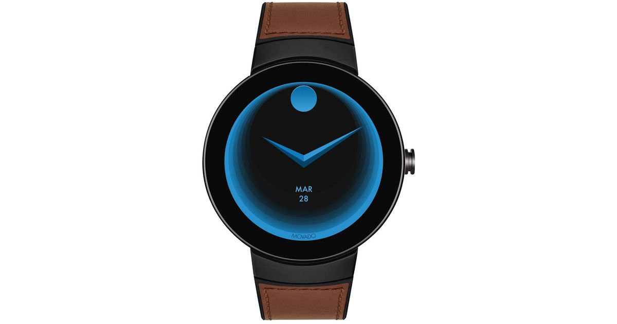Movado Bold Men S Bold Connect Steel Smartwatch With Brown Leather Strap For Men