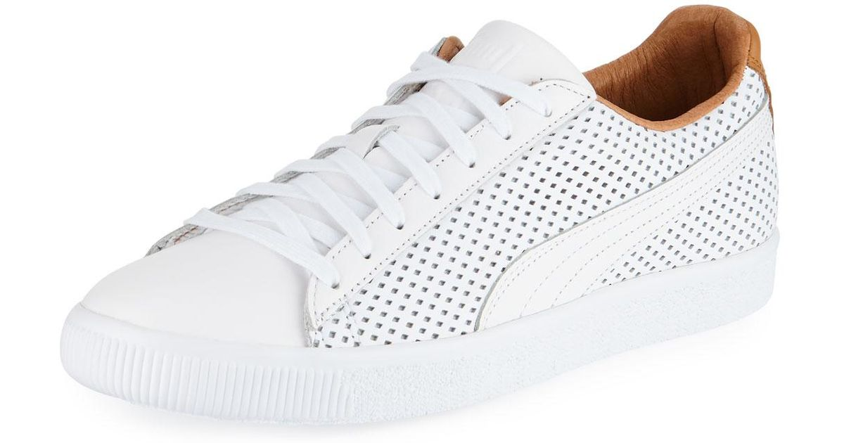 new style 2867b a4a24 PUMA White Men's Clyde Perforated Leather Creeper Sneakers for men