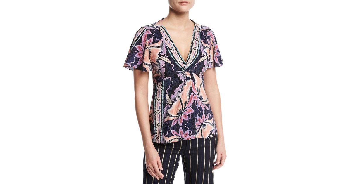 34b3074e570337 Nanette Lepore Venus Floral-print Silk Top in Black - Save 58% - Lyst