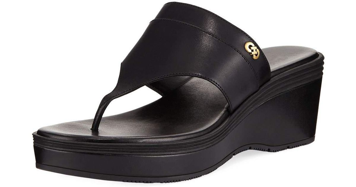 78b57f8efc2 Lyst - Cole Haan Cecily Grand Wedge Thong Sandal in Black