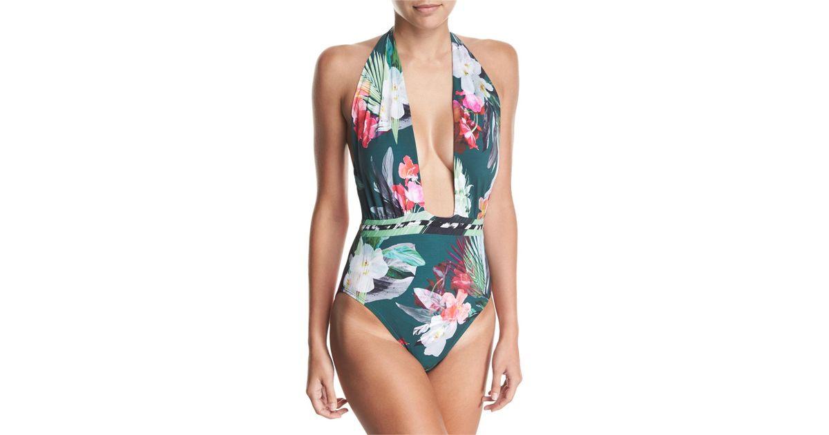 4a7a72e802 Lyst - La Blanca Jungle Floral-print Wrap Front One-piece Swimsuit