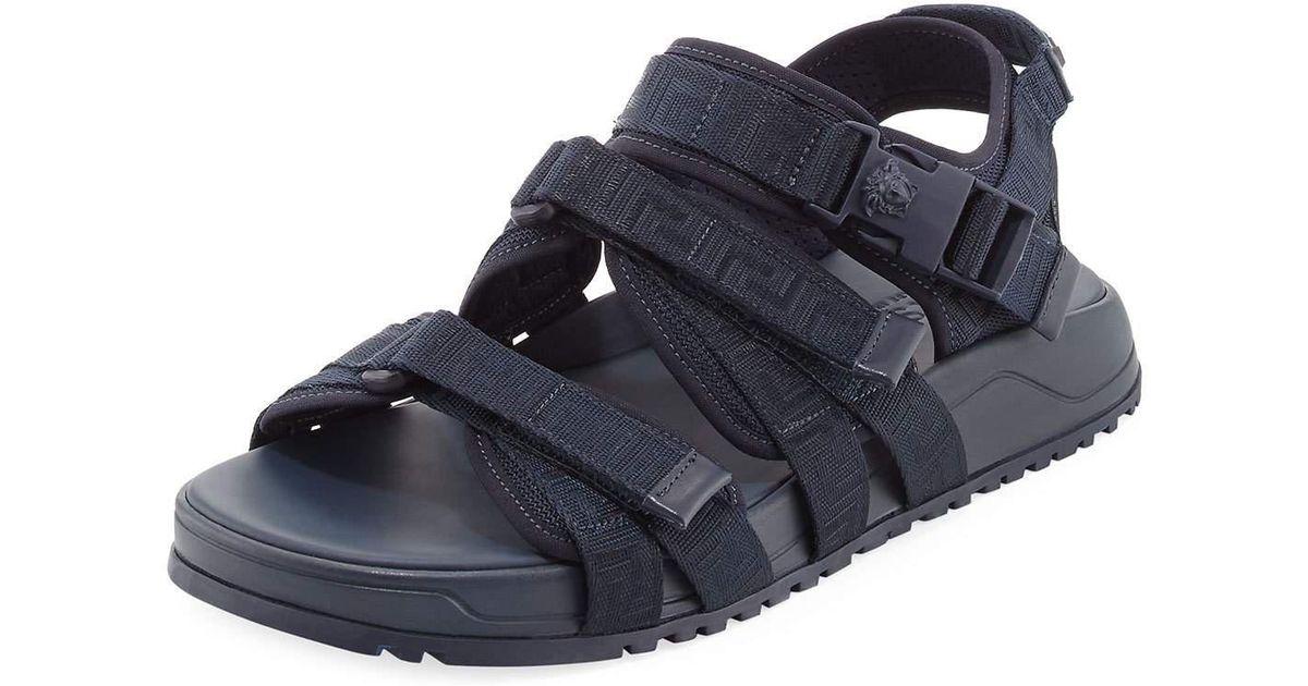 3fc809713 Lyst - Versace Men s Greek Key Multi-strap Sandal in Blue for Men