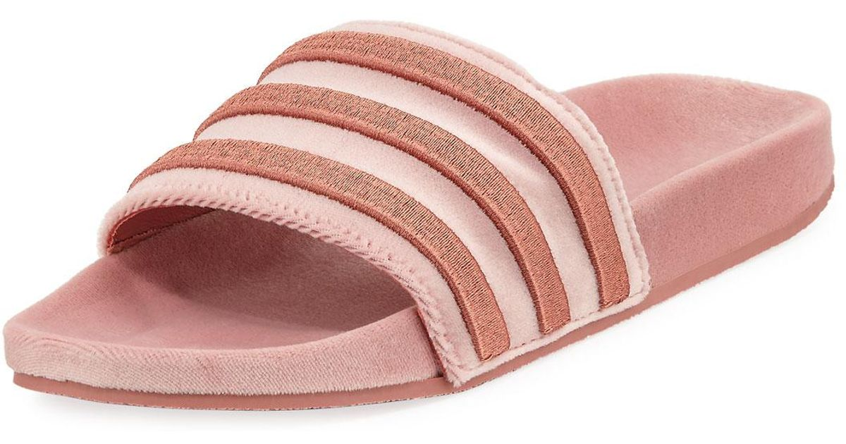 sale retailer 9210b 368f0 Lyst - adidas Womens Adilette Striped Velvet Slide Sandal in