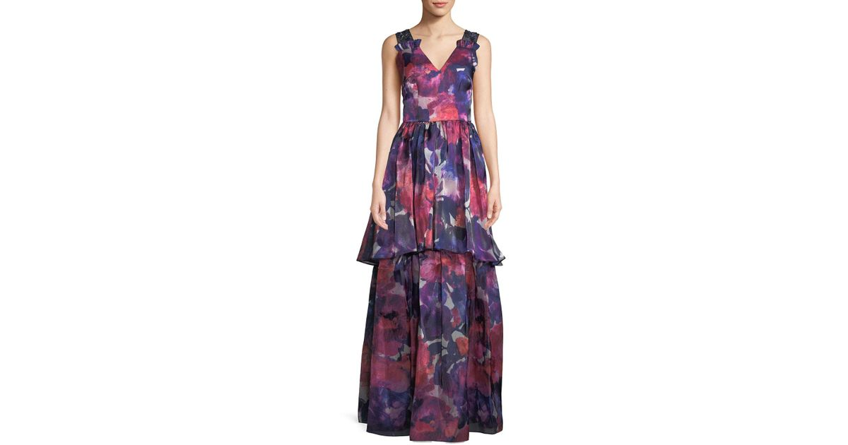 2af2242df04 Lyst - David Meister V-neck Sleeveless Floral-print Tiered Evening Gown W   Beaded Straps in Pink