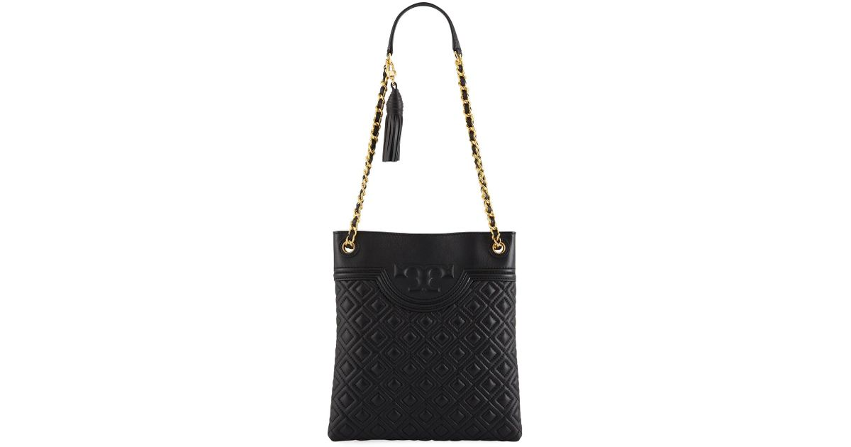 4b9df9c5a46 Tory Burch Fleming Diamond-quilted Swing-pack Tote Bag - Brass Hardware in  Black - Lyst