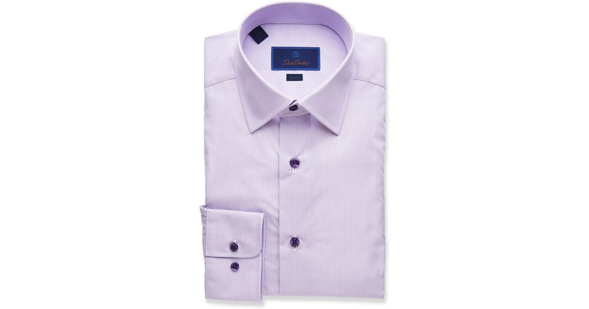 David Donahue Purple Men's Trim-fit Textured Dress Shirt for men