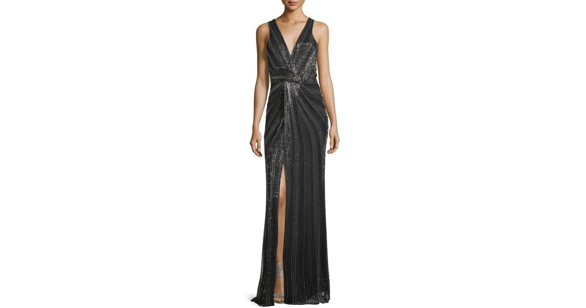 Lyst - Parker Black Monarch Beaded V-neck Sleeveless Evening Gown in ...
