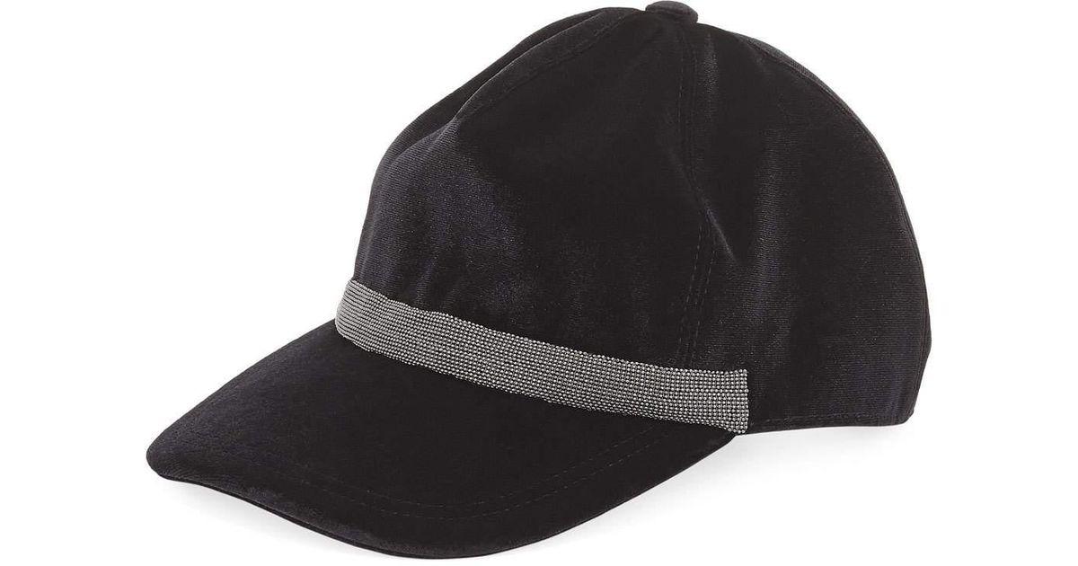 6ccba6850f4 Lyst - Brunello Cucinelli Velvet Monili-trim Baseball Cap in Black for Men
