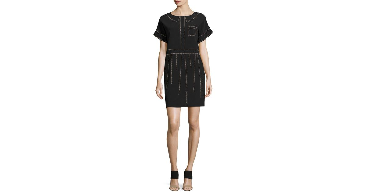 Black sheath dress with bow on the neckline MOSCHINO BOUTIQUE Cheap Sale Visa Payment Pre Order Online BVinwbM73w
