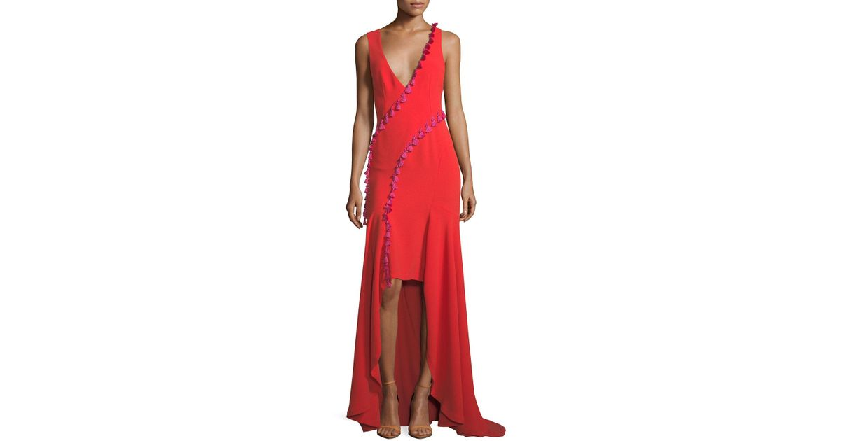 Lyst - Galvan Sleeveless Plunging Crepe High-low Evening Gown W ...