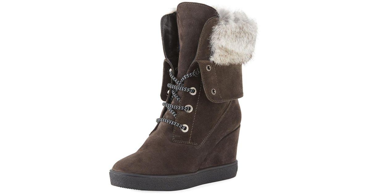 888d4d3e07f3f Aquatalia Cordelia High Wedge Boots W  Fur Trim in Gray - Save 70% - Lyst