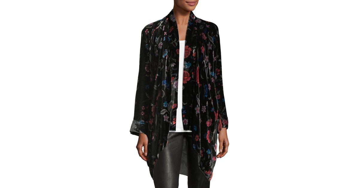Johnny Was Vella Floral-print Velvet Kimono in Black - Lyst