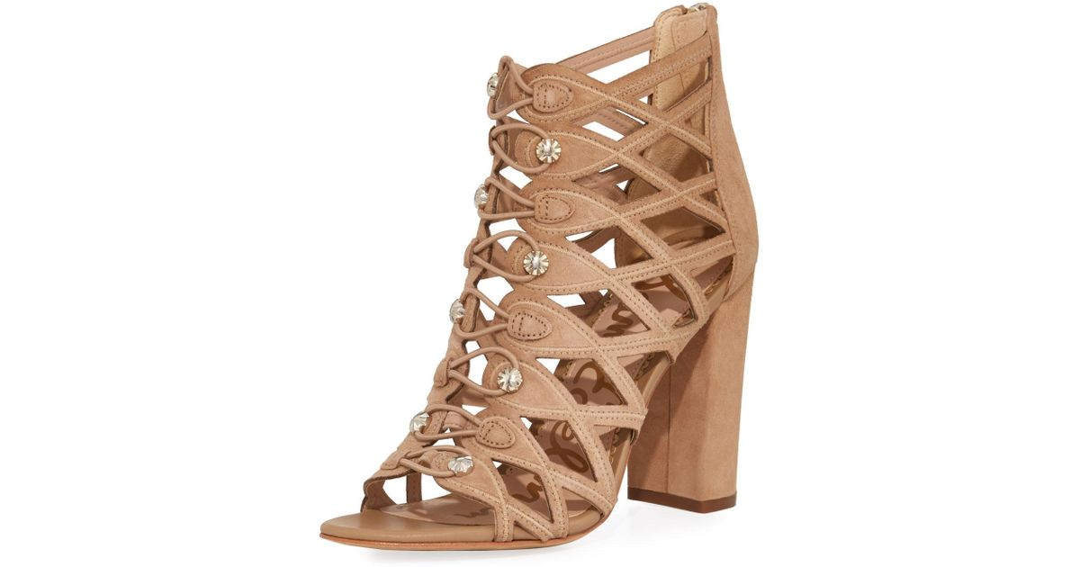 3c6855d87 Lyst - Sam Edelman Yeager Military Caged Bootie in Natural