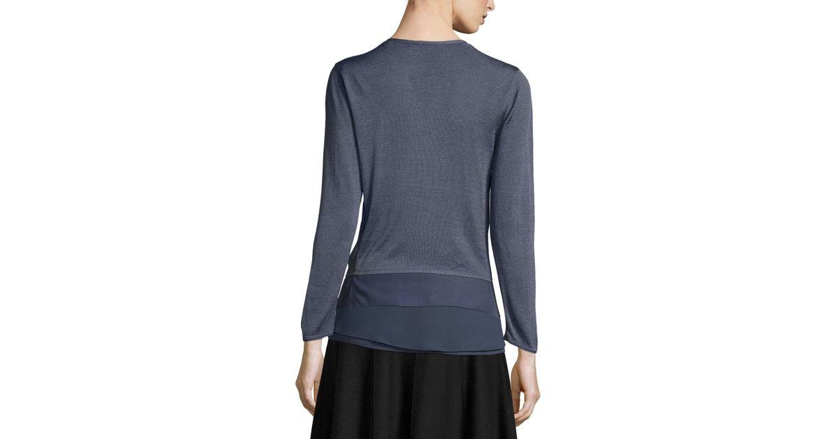 Nic zoe Long-sleeve Knit Cardigan W/ Chiffon Trim in Blue | Lyst