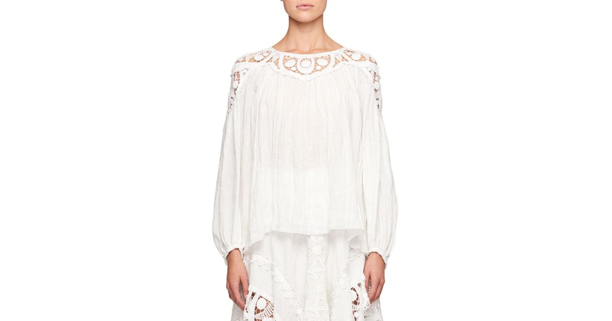 170e62cc Chloé White Long-sleeve Linen Cheesecloth Top W/ Lace Guipure