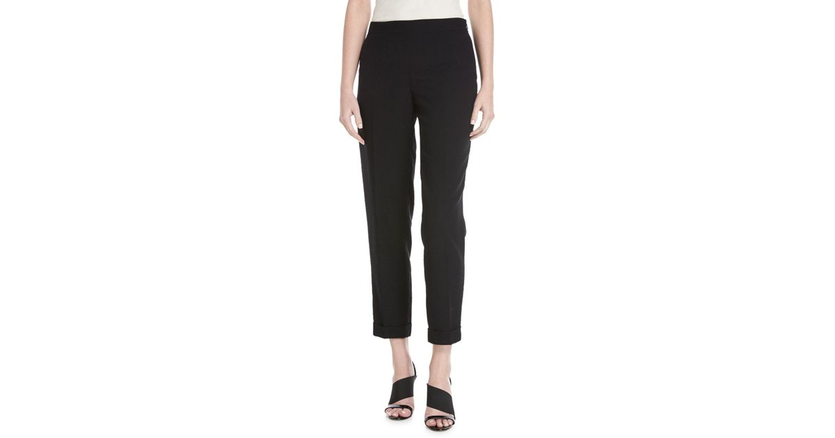 cc5cd55b62c9 Lyst - Akris Manuela Seersucker Cropped Pants in Black