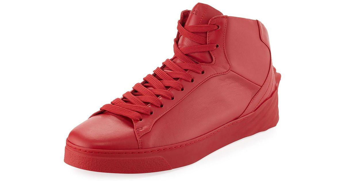 d111edd4 Versace Red Men's 3d Medusa Mid-top Leather Sneakers for men