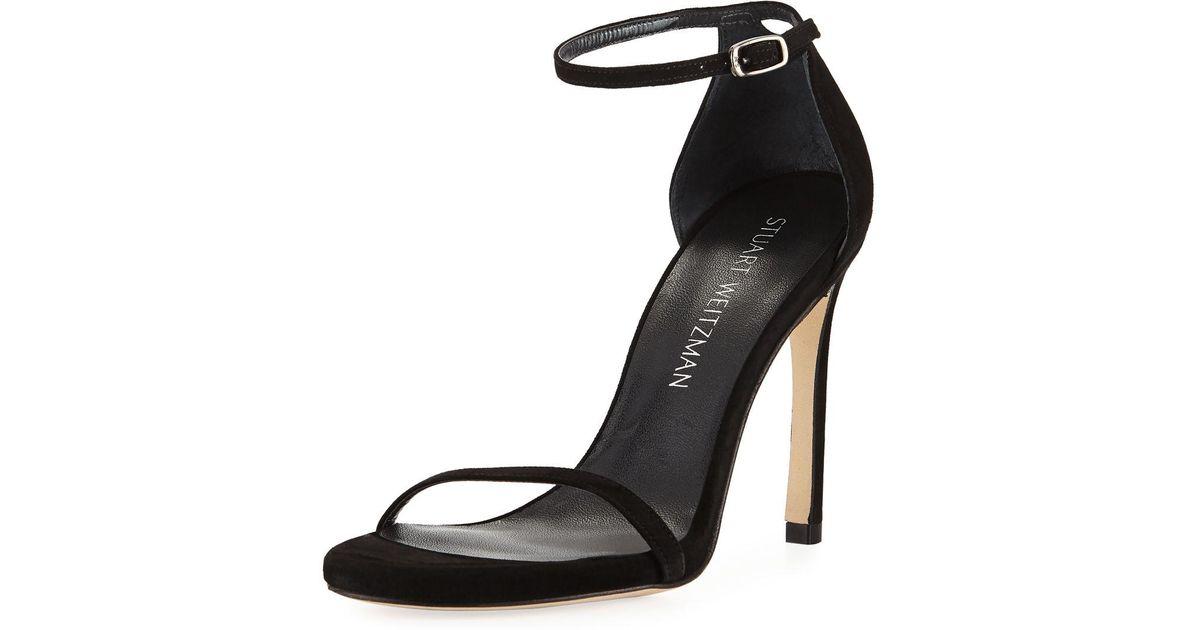 46e5143209ec Lyst - Stuart Weitzman Nudistsong Suede Ankle-wrap Sandal in Black