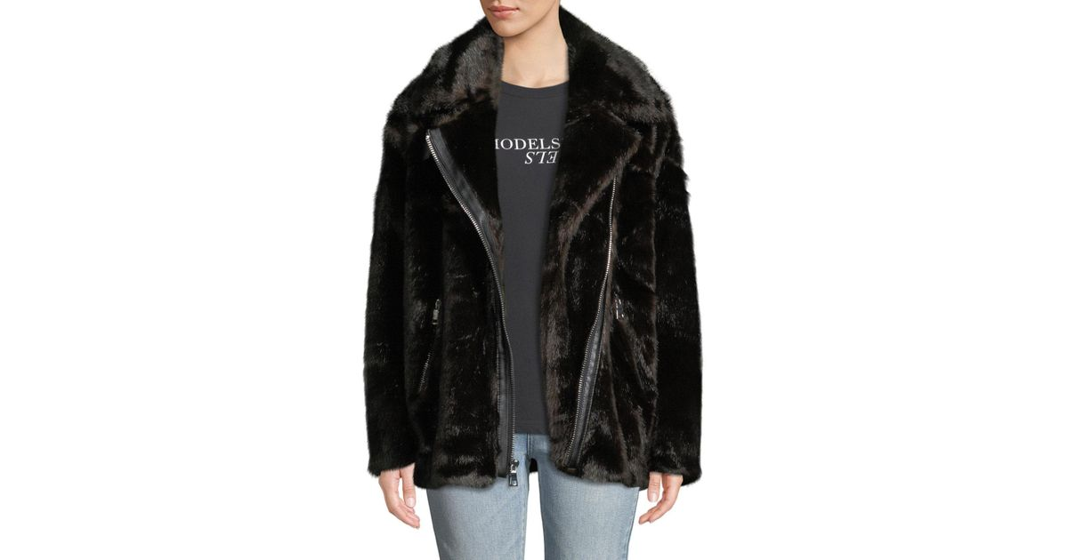 18cefbea9f5 Lyst - Kendall + Kylie Oversized Faux-mink Moto Jacket in Brown